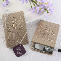 Champagne Finish Angel Compact Mirror